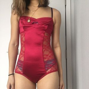 Other - Red silk bodysuit